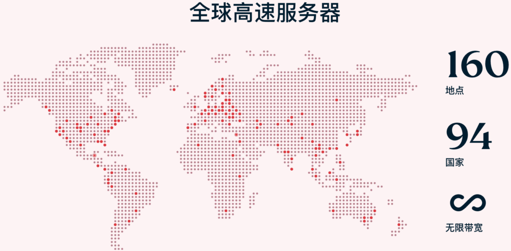 ExpressVPN服务器部署国家及地域94个国家和160个地区