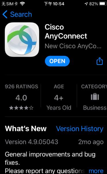 苹果市场CiscoAnyConnet