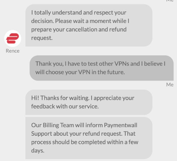 ExpressVPN 退款申请