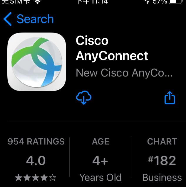 "在美区的苹果市场,搜索""anyconnect"",会找到""Cisco AnyConnect"""