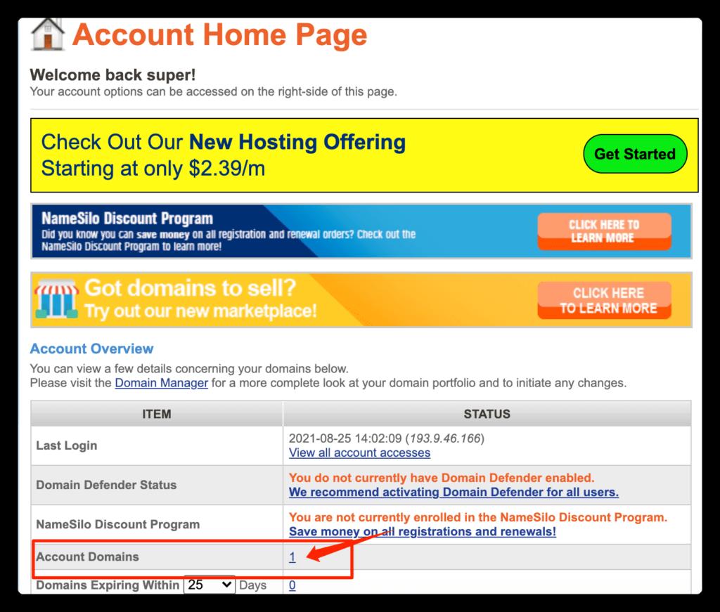 第二步:在你的账号中选择刚才购买的域名